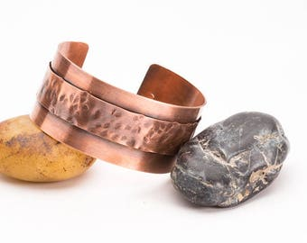 Hammered Copper Cuff, Textured Tribal Cuff Bracelet, Stamped Metal Bracelet, Layered Cuff Bracelet Bangle, Earthy Jewelry, Gifts for Her