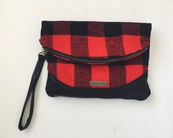 Heidi foldover clutch, small clutch bag, wristlet, foldover bag, buffalo plaid clutch, buffalo plaid bag