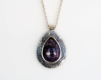 Amethyst and Sterling Silver Pendant Necklace, Amethyst Necklace, Statement Necklace