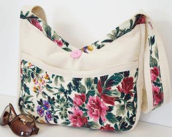 Springtime Floral Shoulder Bag, Large Floral Shoulder Bag, Floral Hobo Bag, Handmade Fabric Shoulder Bag, Beautiful Floral Shoulder Tote