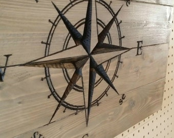Carved Compass Rose, nautical decor, travel, rustic pallet sign, travel gift