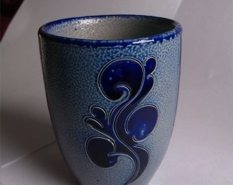 Salt Glaze Stoneware Mug Cobalt Blue Gray Steingut Germany Collectible