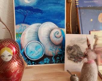 Dreaming Snail - Print of Painting, Art Print, Watercolor painting, Acrylics