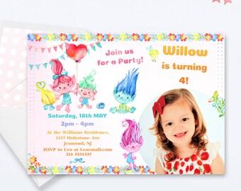 Trolls Party Invitation -  Trolls Birthday Invitation - Girls Birthday Invite - Trolls Party Birthday Invite