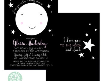 I Love You to the Moon and Back Invitation | Goodnight Moon Invitation | Moon Invitation | Moon Baby Shower - 5x7 with reverse side
