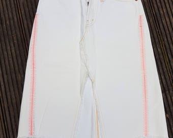 Vintage REPLAY Bleached Distressed Denim Skirt