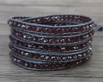 Crystal wrap bracelet Boho bead wrap bracelet Leather wrap bracelet 5 wraps bracelet Purple crystal bead bracelet Crystal bracelet SL-0448