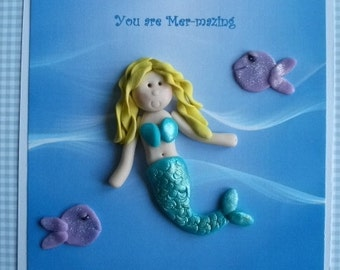 Personalised /any occasion birthday card-mermaid by Hot Dough Creations