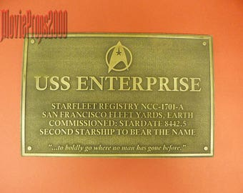 Star Trek uss Enterprise dedication plaque prop replica