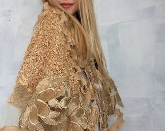 HAND KNITTED-one&only golden beige formal dress-wedding reception cruise--m/l