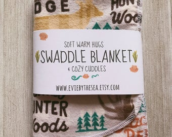 Woodland and Ranch Camping Lodge Swaddle/Receiving Blanket
