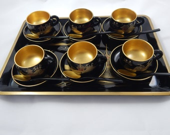 Vintage Hand Painted Tea Set with Tray 1980's