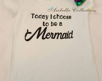 Little Mermaid T-Shirt, Girls, Toddler, Black Glitter, Tee, 2 to 3 Years Old, Photo Shoot, Costume, Today I Choose to be a Mermaid, Outfit