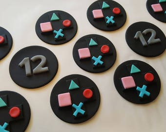 One dozen PlayStation inspired cupcake toppers