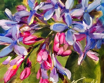spring lilacs // lilacs painting // lilacs art // flower painting // flower art // original art // daily painting // purple flower art //