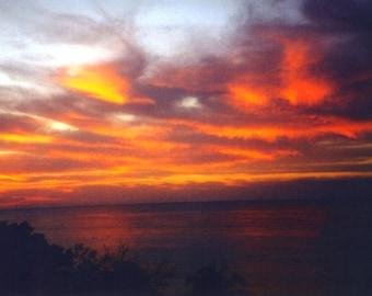 Beautiful Sunset Sunrise Lake Nature Photograph Art print.