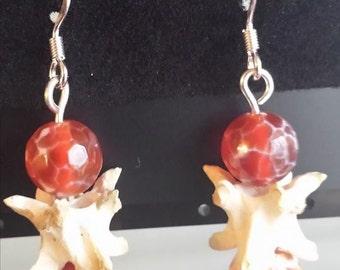 Fire agate and snake vertebrae sterling silver earrings