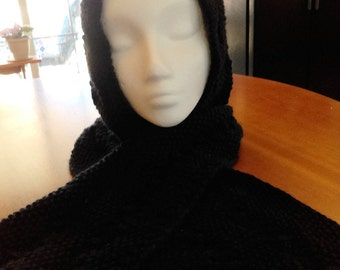 Knit Lacy Hooded Scarf - Women's Scarf and Hat