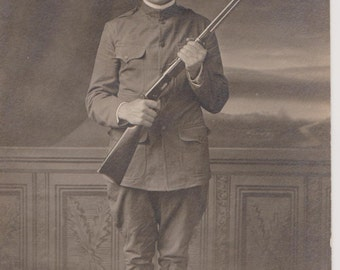 WWI Real Photo Postcard of  a Solider, Vintage Postcard, 1918, RPPC, Military Ephemera