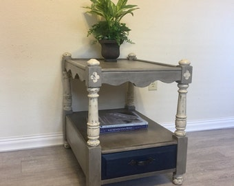 Oak End Table, Painted furniture