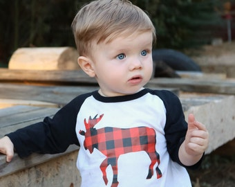 buffalo plaid moose shirt, woodlands animal shirt, plaid moose raglan, toddler boy raglan, winter clothes, baby boy shirts, baseball tee