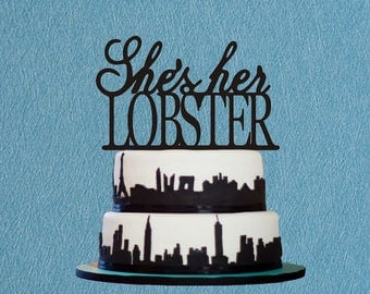 She's Her Lobster Cake Topper ,Wedding Cake Topper her lobster Cake Topper