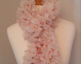 Beautiful Versatile Cream & Pink Floral Ruffle Chiffon Scarf
