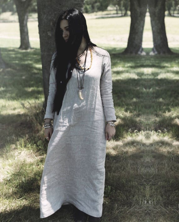 Linen Viking Dress, Garb, Serk, Norse, SCA, HEMA, LARP Comic Con Knotwork Trim Celtic Slavic Renaissance, Reenactment