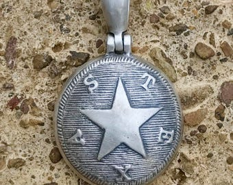Sterling Silver Confederate TEXAS Button (TX17) Civil War Relic Pendant