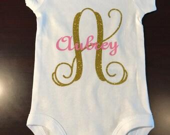Monogram baby girl onesie, Baby onesie, Monogram onesie, Baby gift