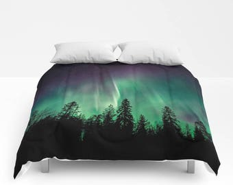 Tree Bedding, Forest Bedding, Forest Bedroom, Nature Bedding, Nature Bedroom, Wanderlust Bedroom, Aurora Borealis, Northern Lights