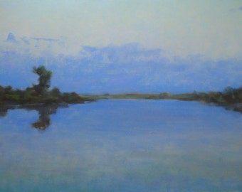 OIL WATERSCAPE Original Oil Painting by Ukrainian artist Reshetov R., Signed, River, Sky Clouds painting, Handmade Artwork, One of a Kind