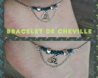 Ankle bracelet, teal, geometry, triangle