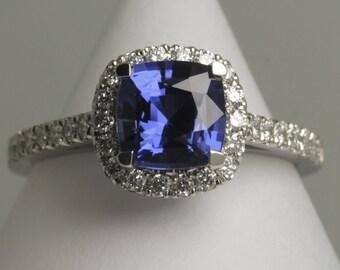 sapphire diamond halo ring /sapphire diamond ring / sapphire ring /sapphire diamond Ladies Halo ring / sapphire diamond engagement ring /