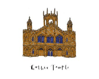 Gothic Temple, a Landmark Trust building - A6 Greeting Card, A4 Digital Print