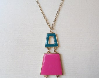 Gold Tone and Tri-color Enamel Art Deco Revival Pendant Necklace.