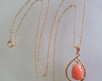 14K Stamped and Signed Salmon Coral Pendant Chain.