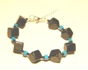 Shungite & Blue turquoise Bracelet, beaded bracelet