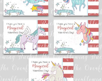 Magical Unicorn Valentine Cards - Kids Valentine Cards - Classroom Cards