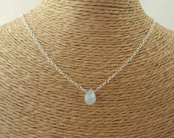 Aquamarine necklace, aquamarine jewellery, sterling silver necklace, March birthstone, delicate necklace, gifts for her, March birthday gift