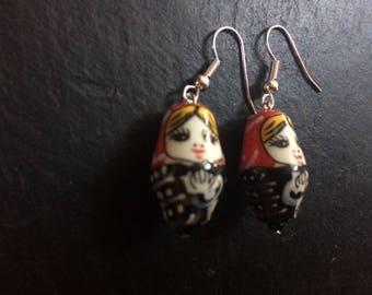 Ceramic red and black Russian doll earrings