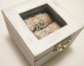 ring box wedding ring box ring bearer box wood ring box rustic - Wedding Ring Box