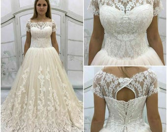 Vintage Inspired Fully Lace Light-As-Air Wedding Dress, with Lace Corset, Open Back Cutout ,Lace Illusion Neckline,