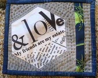 inspirational words mug rug