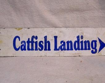 Catfish Landing Sign, Vintage Lake Sign