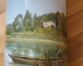 """Door basket, or umbrella Tin tole painted rendition of JB COROT """"city of Angeles pond, old canister laundry, 60's, France"""