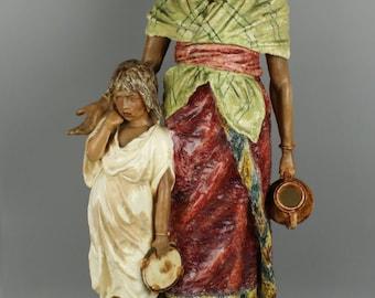 "Huge 27"" antique Austrian figurine ""Eastern Woman with Boy"""