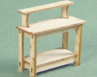 1:48 Dollhouse Miniature Potting or Work Bench Kit/ Quarter Inch Scale Furniture KBM Q214