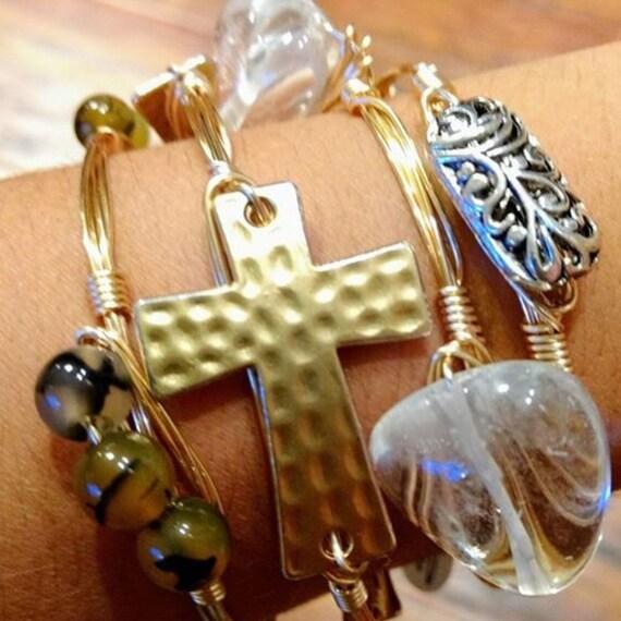 Cross Bangle Bracelet, Wire wrapped bangle, Handmade jewelry, metal bangle, metal bracelet