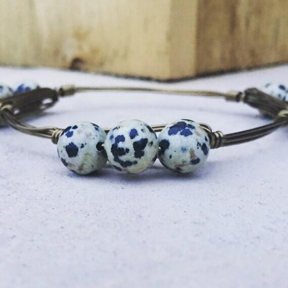 Dalmation Jasper Bangle Bracelet, Jasper bangle, Wire wrapped bangle bracelet, handmade bangle, 3 stone bangle, chunky bangle bracelet,